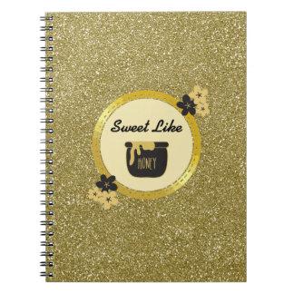 Caderno O doce do brilho do ouro do falso gosta do mel