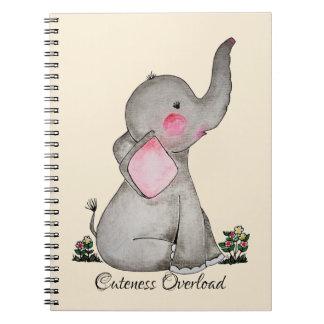 Caderno O elefante bonito do bebê da aguarela com cora &