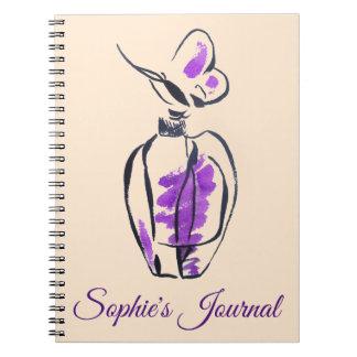 Caderno O jornal da menina da forma da garrafa de perfume