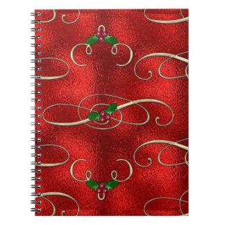Caderno O ouro bonito roda com azevinho & bagas