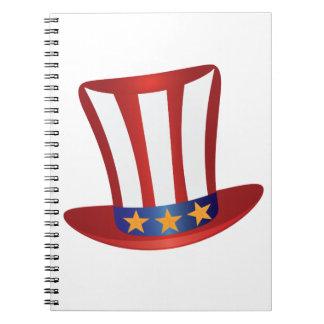 Caderno O quarto do ouro do chapéu de julho Stars a