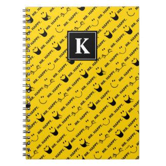Caderno O Sr. Feliz | todo sorri monograma do teste padrão