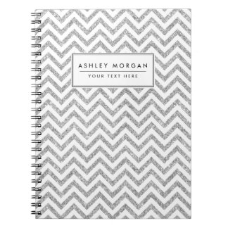 Caderno O ziguezague de prata do brilho listra o teste