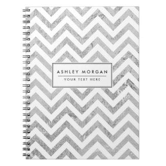 Caderno O ziguezague elegante da folha de prata listra o