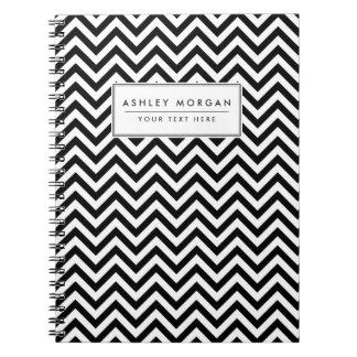 Caderno O ziguezague preto e branco listra o teste padrão