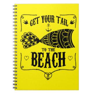 Caderno Obtenha sua cauda à praia