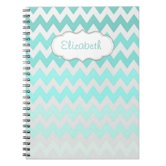 Caderno Ombre adorável, ziguezague, Chevron-Personalizado