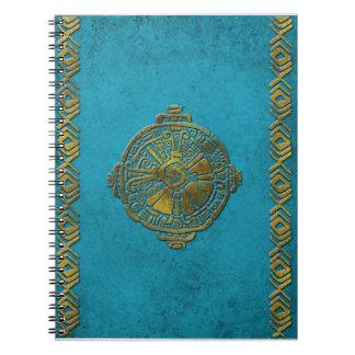 Caderno Ouro maia do vintage do símbolo de Hunab Ku na