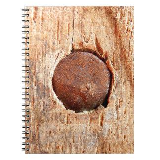 Caderno oxidado velho da foto do prego