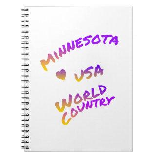 Caderno País do mundo de Minnesota EUA, arte colorida do
