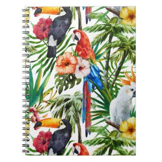 Caderno Pássaros da aguarela e teste padrão tropicais da