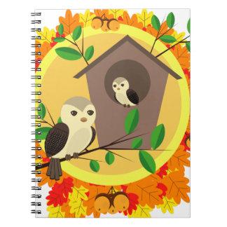 Caderno Pássaros e Birdhouse no outono