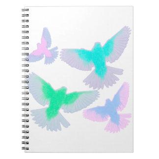Caderno Pássaros Pastel