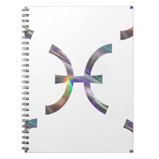 Caderno peixes do holograma