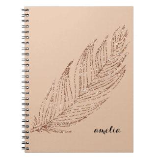 Caderno Pena cor-de-rosa do brilho do falso do ouro