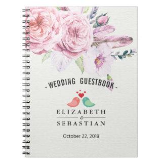 Caderno Pena floral de Boho da aguarela do Guestbook do