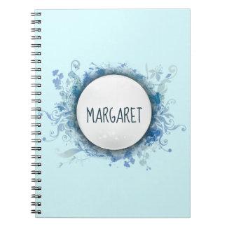 Caderno personalizado com redemoinhos azuis da