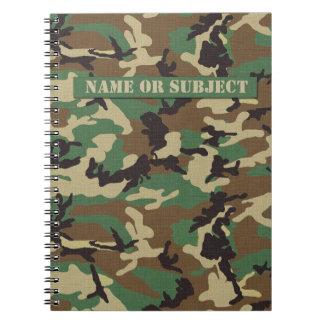 Caderno personalizado da camuflagem das forças arm