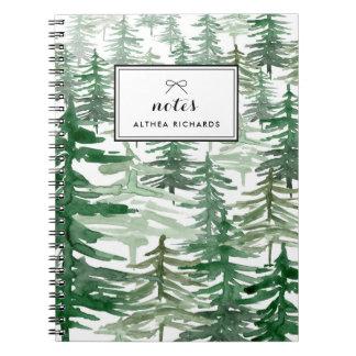 Caderno personalizado teste padrão das árvores da