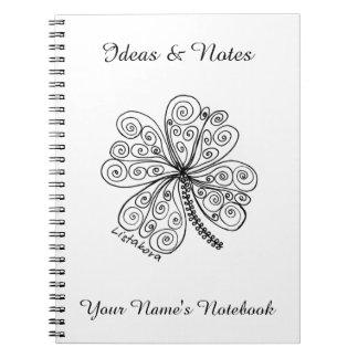 Caderno personalizado trevo de Listakora