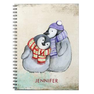 Caderno Pinguins bonitos nos Scarves e nos chapéus do
