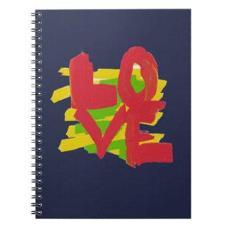 Caderno pintado grande da palavra das letras do
