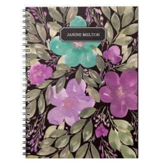 caderno pintado mão das flores