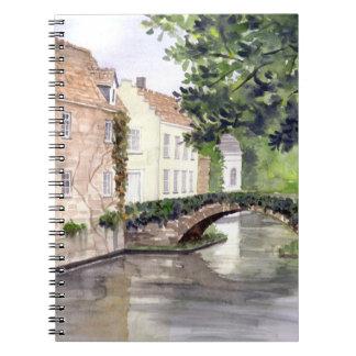 Caderno Pintura da aguarela de Bruges pelo Greenfield de
