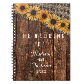Caderno Planejador rústico do casamento do girassol da