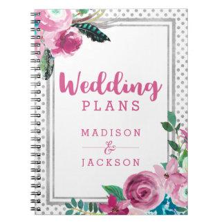 Caderno Pontos florais & de prata cor-de-rosa chiques que
