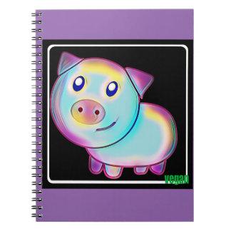Caderno Porco colorido Vegan