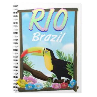 Caderno Poster de viagens de Rio Brasil Toucan