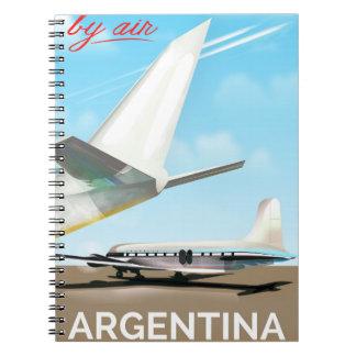 """Caderno Poster do vôo do vintage pelo ar de Argentina """""""""""