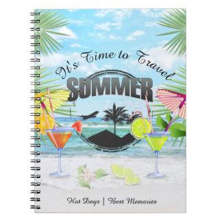 Caderno Praia tropical, férias de verão   personalizada