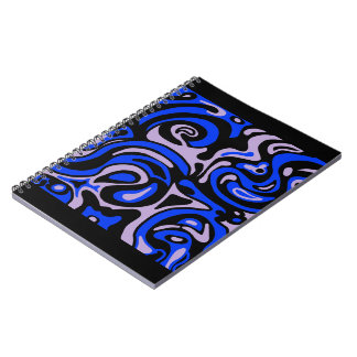 Caderno preto e azul