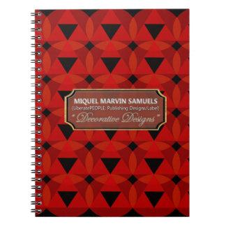 Caderno preto vermelho decorativo dos círculos dos