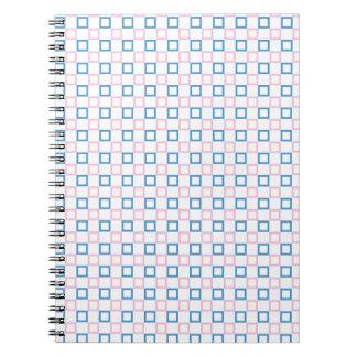 Caderno quadrado cor-de-rosa e azul simples
