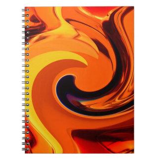Caderno Redemoinho bonito colorido do ouro da arte