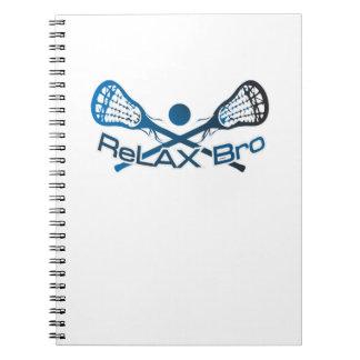Caderno Relaxe o presente engraçado do jogador do Lacrosse