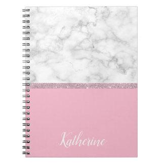 Caderno Rosa de mármore branco do brilho cor-de-rosa