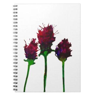 Caderno roxo bonito do design da flor