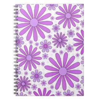 Caderno Espiral Caderno roxo de flower power no branco