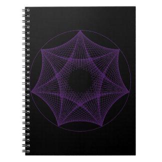 Caderno roxo geométrico da estrela