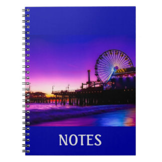 Caderno roxo personalizado do cais de Santa Monica