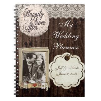 Caderno rústico do planejador do casamento do