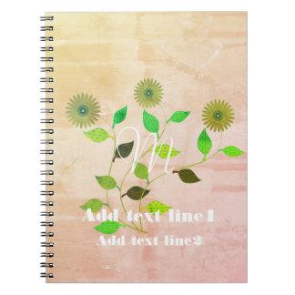 Caderno rústico legal do estilo da aguarela das