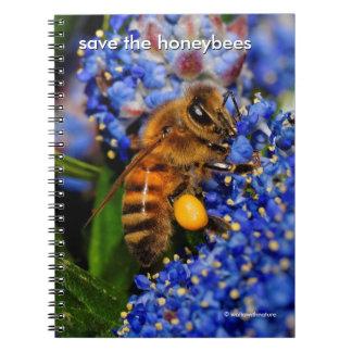 Caderno Salvar as abelhas que Pollinating o Lilac de