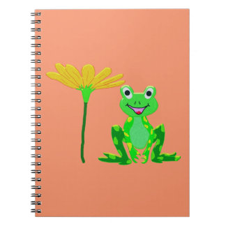 Caderno sapo pequeno e flor amarela