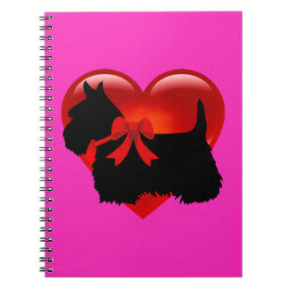 Caderno Scottish coração de Terrier arco pretos/brancos da