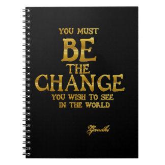 Caderno Seja a mudança - citações inspiradas da ação de